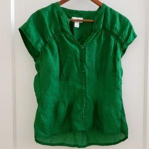 Loft | M green cap sleeve career top button dowm